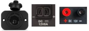 3 types of 12V DC receptacles