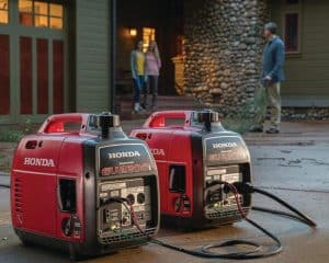 Two Honda Inverter Generators Linked By Parallel Kit