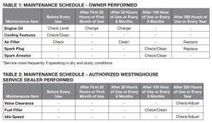 Maintenance schedule of the Westinghouse WGen5300v