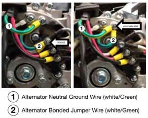 Picture of the neutral ground wire and the bonded jumper wire of an alternator