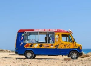 Ice cream truck on a remote beach