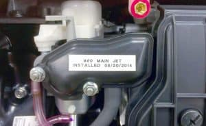 rejetting label near generator's engine