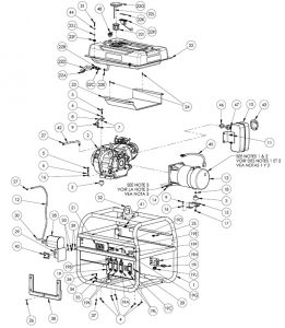 Exploded view of the Dewalt DXGN4500 Portable Open Frame Generator