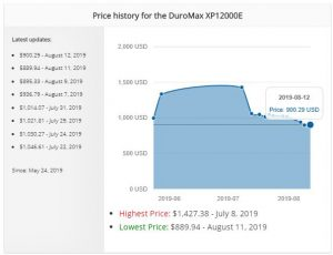 screenshot of our price tracking feature